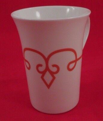 2014 Starbucks White Porcelain w/ Burnt Orange Diamond Scroll 11 Oz Mug Cup 11 Ounce White Porcelain