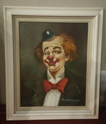 F. Dressen Clown Painting on Canvas