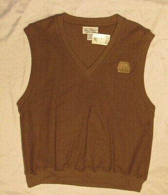 MARATHON OIL SWEATER BROWN MEDIUM V-NECK VEST SEA PALMS HEARTWELL NEW NWT USA
