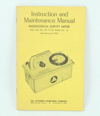Geiger Counter Vintage Instruction Maintenance Manual Radiological 1962 Book