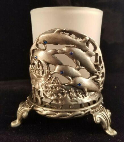 Leaping Dolphin Pewter Votive Candle Holder