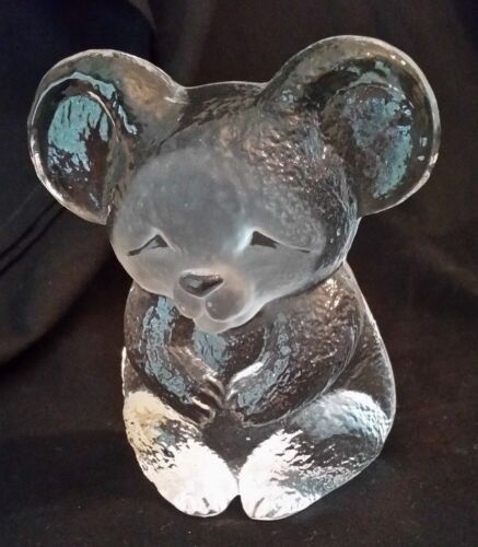 Mats Jonasson Art Glass FULL LEAD Koala Bear SIGNED and NUMBERED w/STICKER