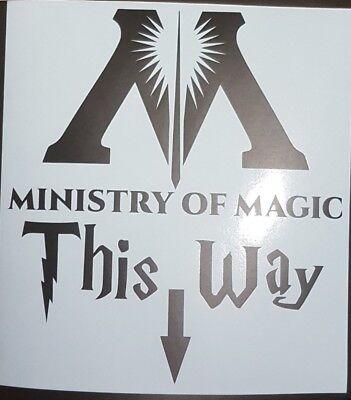 Ministry of Magic This Way Sign wall art matt black  - Harry Potter Halloween