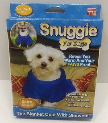 Snuggie for Dogs SN221116 Blanket Coat with Sleeves Extra Small Blue as seen TV