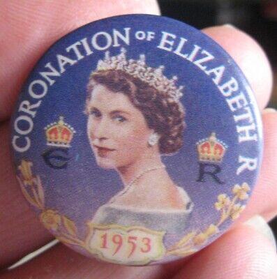 1953 CORONATION QUEEN ELIZABETH II vintage souvenir mauve tin pin BADGE