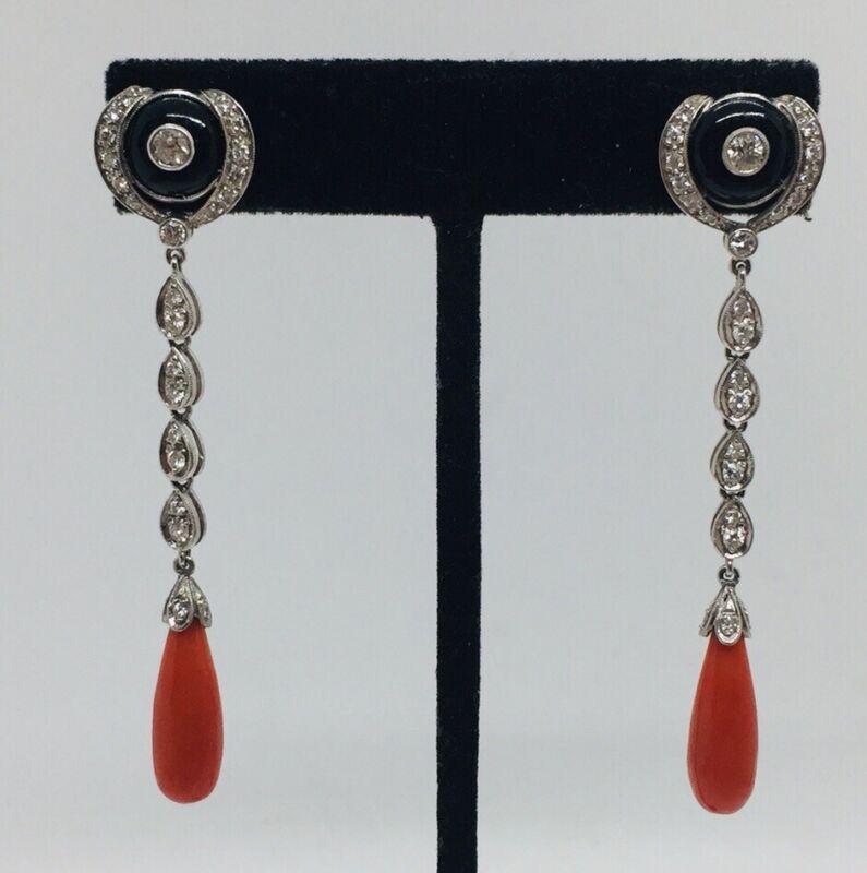 Antique Art Deco 18k White Gold Diamond Onyx Red Coral Pendant Drop Earrings