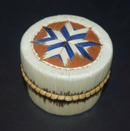 Fine Anishinaabe Native Quill Birch Bark Basket Box L. Besito First Nation
