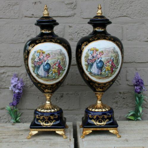 PAIR vintage  cobalt blue porcelain victorian romantic Vases