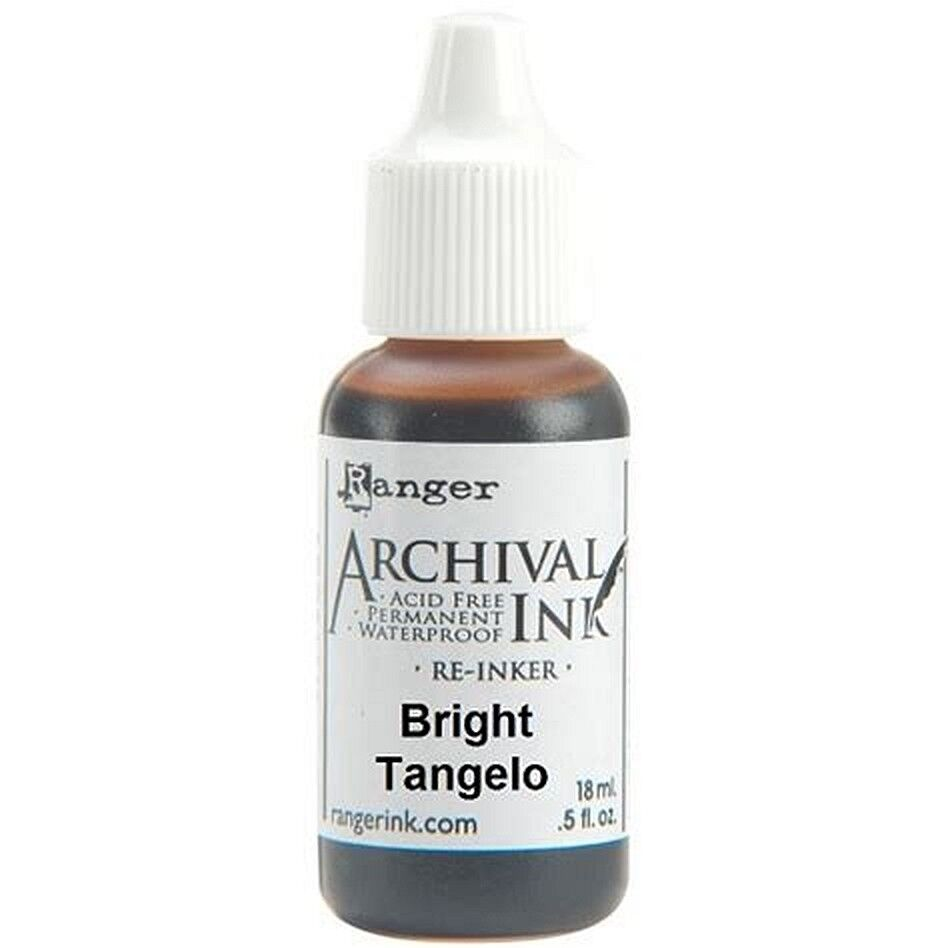 RANGER Archival Reinker .5oz Refill Ink for Stamp Pads Select from 55 colors Bright Tangelo