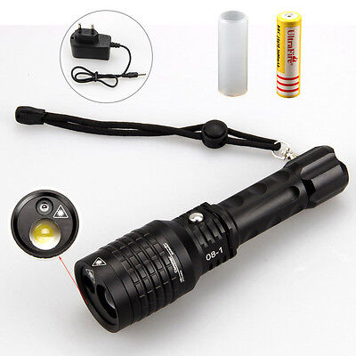 Tactical 2000lm Lts Led Zoomable Flashlight Torch Green Laser18650ac Charger