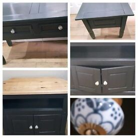 HEAVY SOLID WOOD tv unit,console table/hall table/sideboard & side table/lamp table excon