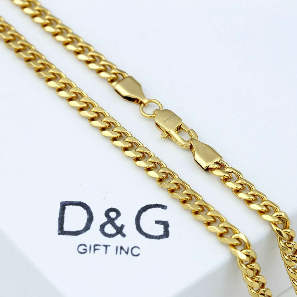 """DG Men's 24"""" Gold Stainless Steel 5mm Cuban Curb Chain Necklace + BOX"""