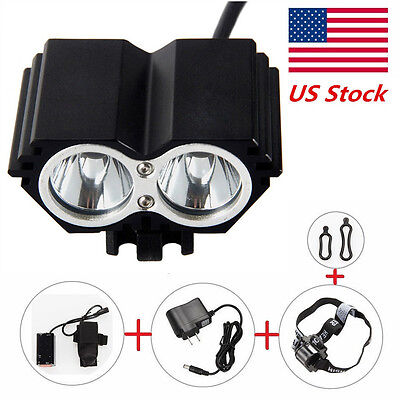 For New 5000LM 2x Cree T6 Led Bicycle Bike Front Head Light lamp + Battery