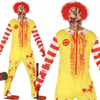 Adult Mens Scary Creepy Killer Zombie Burger Clown - Fancy Dress Burger Kostüme