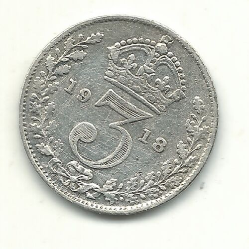 VF/XF DETAILS 1918 GREAT BRITAIN SILVER 3 THREE PENCE COIN-APR437