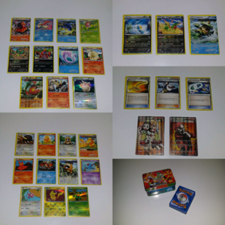 Assorted Pokémon Cards with Pokémon Tin Case