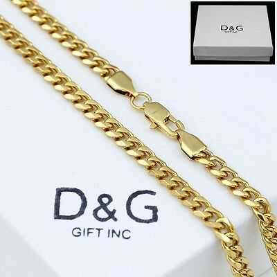 """DG 30"""" Men's Gold.Stainless-Steel 8mm Miami Cuban Curb Chain.Necklace Unisex.Box"""
