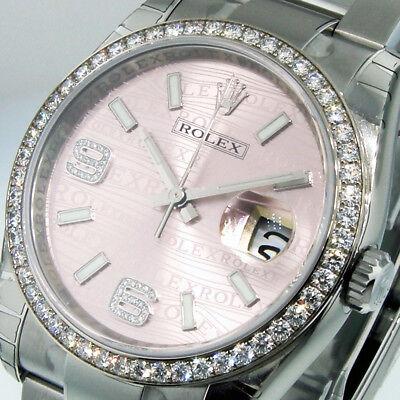 ROLEX DATEJUST 116244 STEEL 18K WHITE GOLD 36 mm OYSTER PINK WAVE DIAMOND BEZEL
