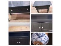 solid wood heavy tv unit,console table - drawers/hall table & coffee/lamp table ex con