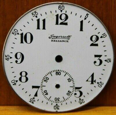 Ingersoll Reliance Watch Co. 42.7mm Porcelain Dial Face Pocket Watch (L2A)