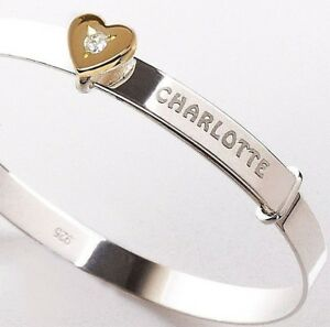 Personalised Silver Baby Bangle Christening Bracelet Gold Plated Heart Charm CZ