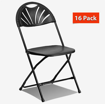 Fan Back Folding Chair Black 16 Pack Steel Frame Event Party School Office Chair