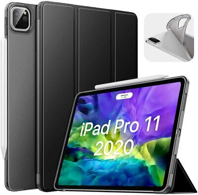 2020 Apple iPad Pro 11 Leather Smart Case Frosted Back Slim Cover Pencil Holder