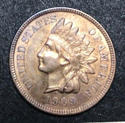 1909 Indian Head Cent Red  AU-UNC