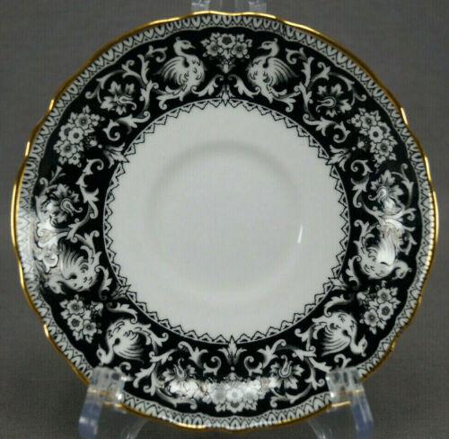 Crown Staffordshire Ellsmere Black Pattern Bone China 5 5/8 Inch Saucer