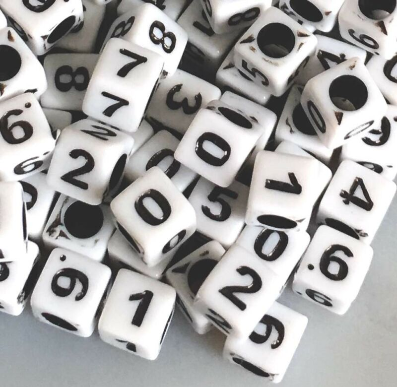 6mm White Black Acrylic Cube Number Beads spacer (100 pcs)