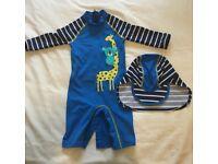 John Lewis Baby Giraffe UV SunPro Swimsuit and Hat