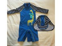 John Lewis Baby Giraffe UV SunPro Swimsuit and Hat