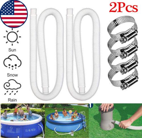 "2Pcs Pool Pump Replacement Hose 1.25"" Diameter 59"" Long with Clamps US Shippment"