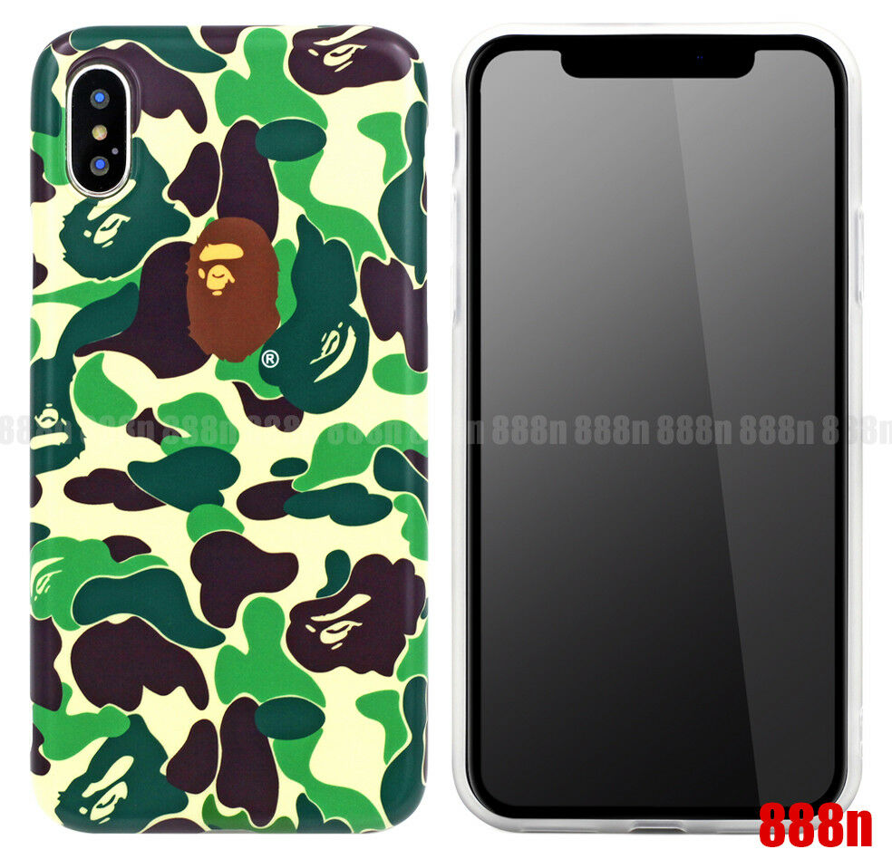 wholesale dealer d43a1 dfbf7 Details about A Bathing Ape BAPE ABC CAMO Green Case For Apple iPhone XS  Max XR X 8 7 PLUS 6