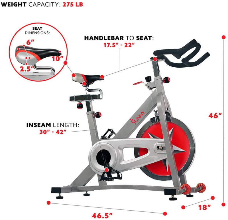 STEEL Indoor Cycling Bike Spin Chrome Flywheel Adjustable