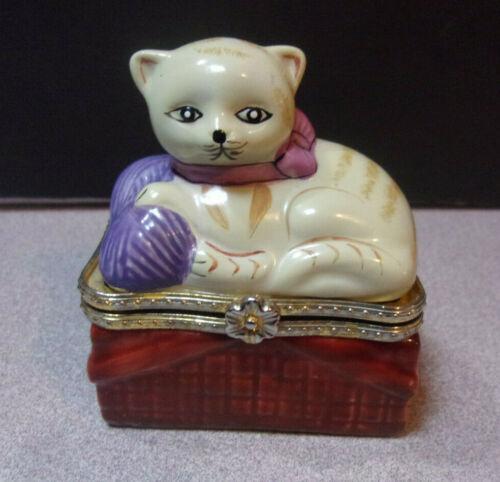 Kitty Cat On A Basket Hinged Porcelain Trinket Box w/ Mini Glass Cat Inside