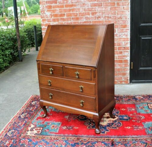 English Antique Queen Anne Mahogany Slant Front Drop Desk with Key