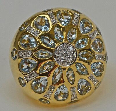 Phantastischer Blautopas  Diamant Damen Ring Brillantschmuck 18 Karat Neu Nr.549