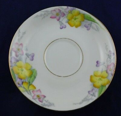 Sampson Smith Old Royal Bone China Saucer ONLY Yellow Pink Flower