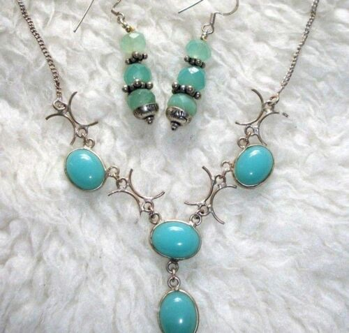 Stone Necklace With Earrings Set Aqua Blue Chalcedony Unique Tribal Look New