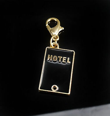Gold Plated Black Enamel Hotel Charm fits charm bracelet with lobster clasp