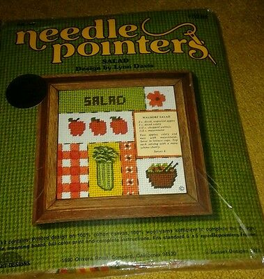 "1990 SALAD  Needlepoint Kit  5"" x 5""  Lynn Davis Sunset Designs New in Package"