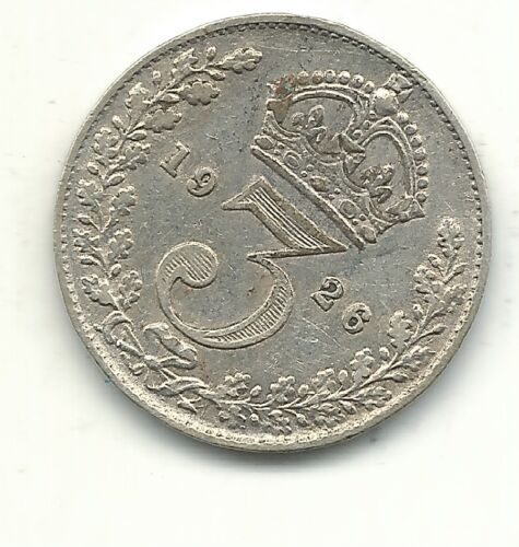 HIGH GRADE XF 1926 GREAT BRITAIN SILVER 3 THREE PENCE COIN-APR440