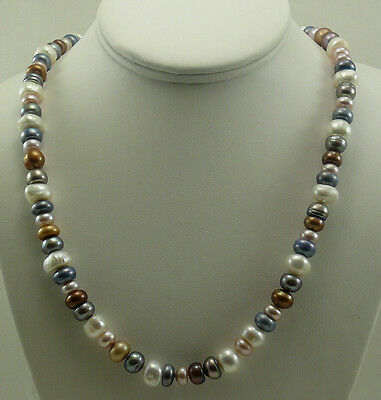 Freshwater Pearl Necklace and Bracelet set, Sterling Silver Clasp