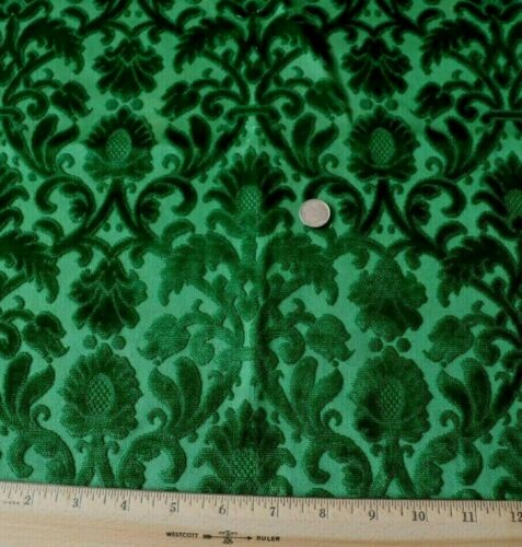 Antique 19thC French Christmas Green Silk Cut Velvet Fabric~Frame Layout~17X21