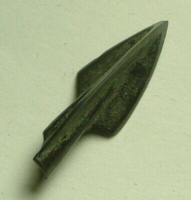 RARE Genuine ancient bronze Celtic Scythian Greek triple barbed arrowhead 3 C BC