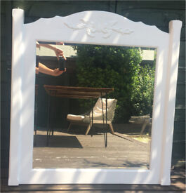 Large wooden white lounge/ hallway mirror - perfect above fireplace