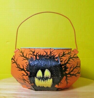 Vintage (I'm guessing aluminum) pumpkin shaped hand-painted trick-or-treat pail