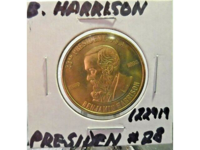PREOWNED B. HARRISON PRES.(#28) MEDALLION(122919).....FREE DOMESTIC SHIPPING