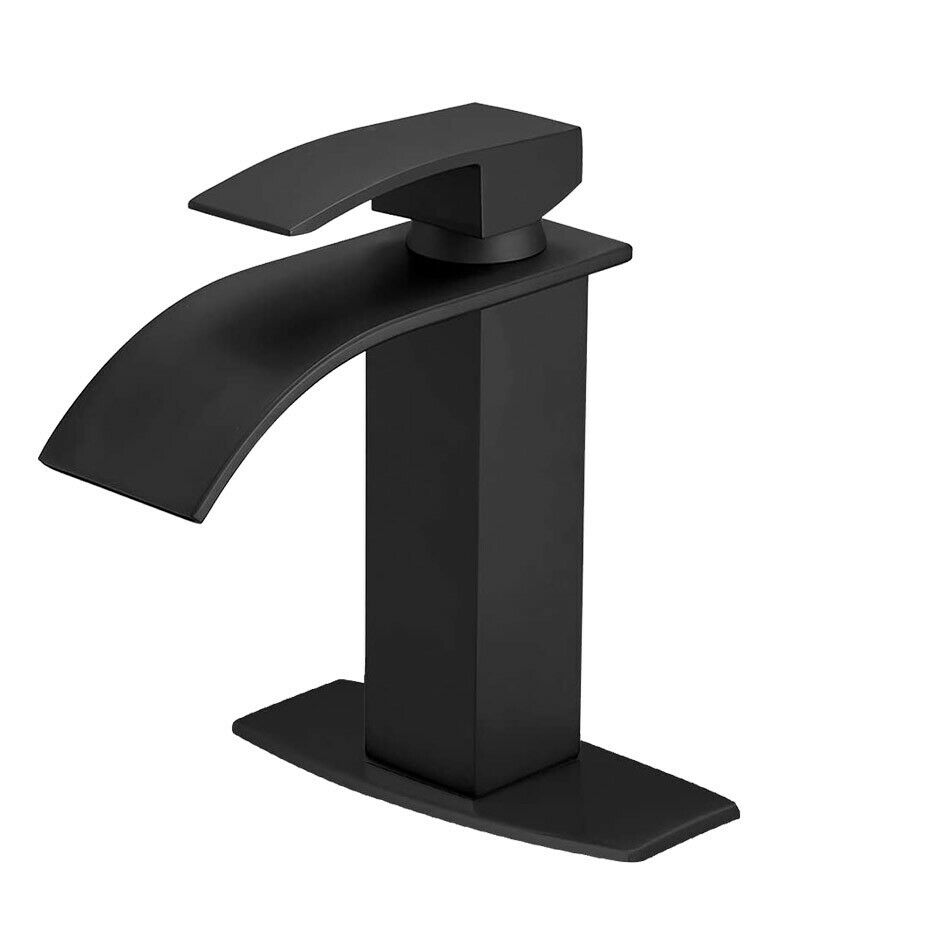 Bathroom Sink Faucet Waterfall Basin With Cover Plate Mixer Tap Matte Black 1